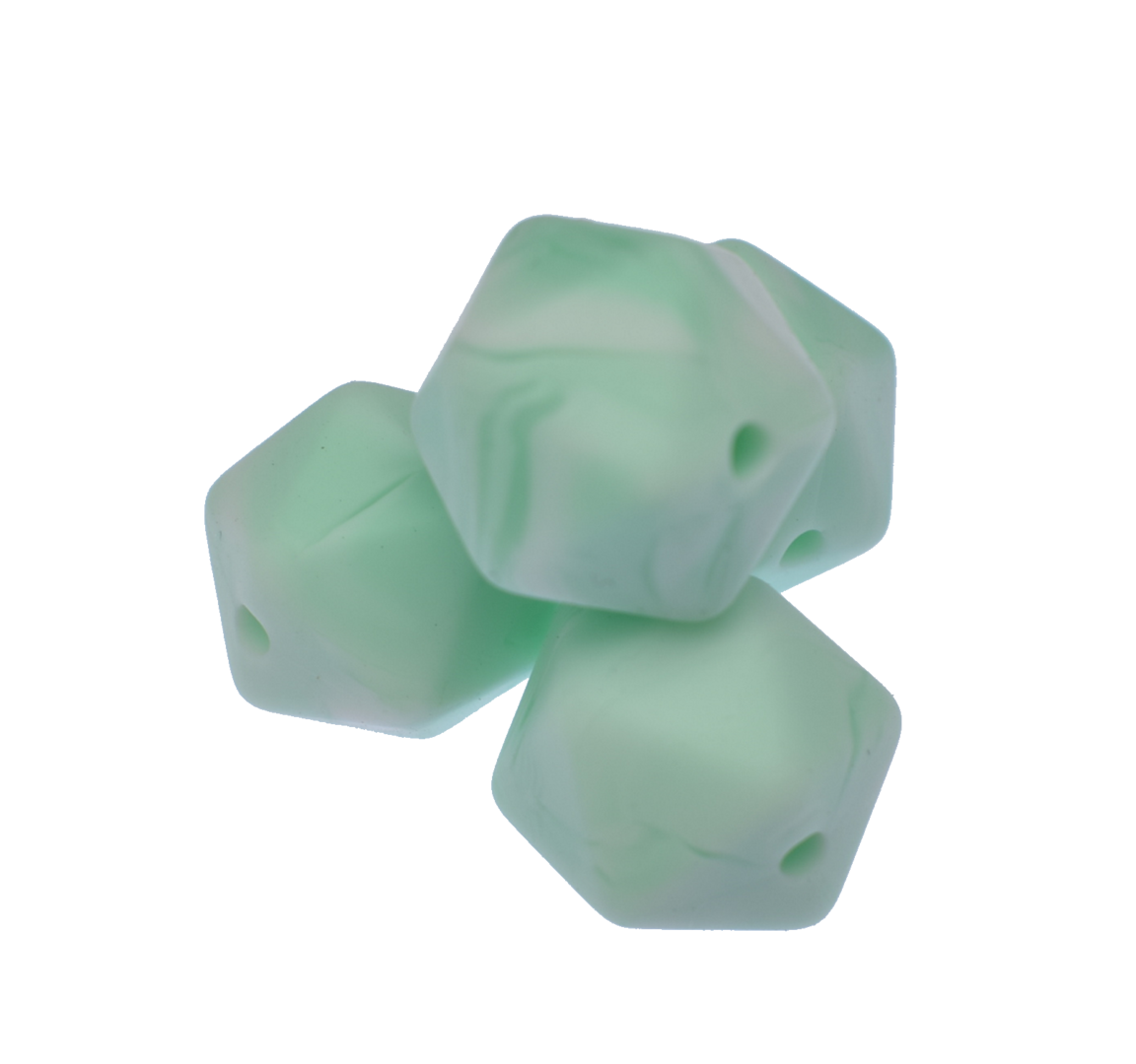 Icosahedron 14mm Marble Mint