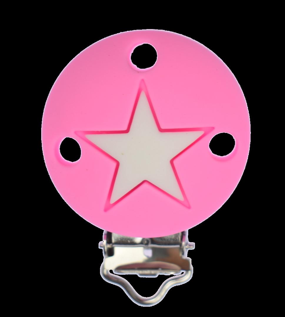 Clip Rund Stern - Pink - Weiss