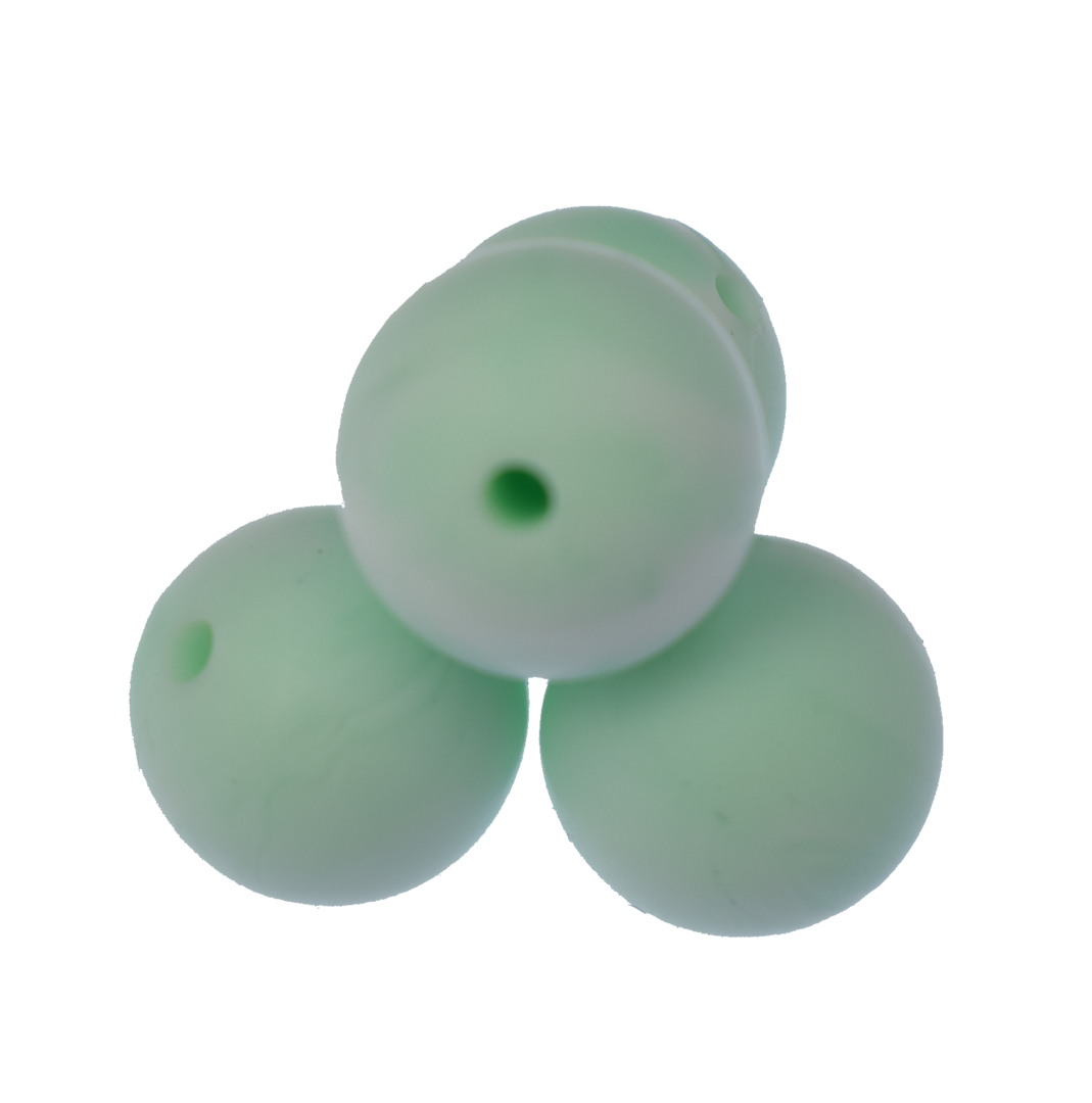 Silikonperle 15mm Marble Mint