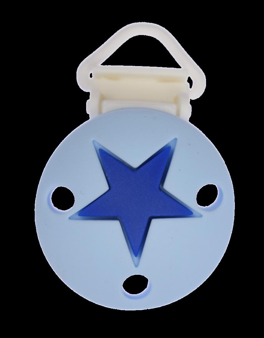 Clip Rund Stern Kunststoffverschluss - Pastellblau - Dunkelblau