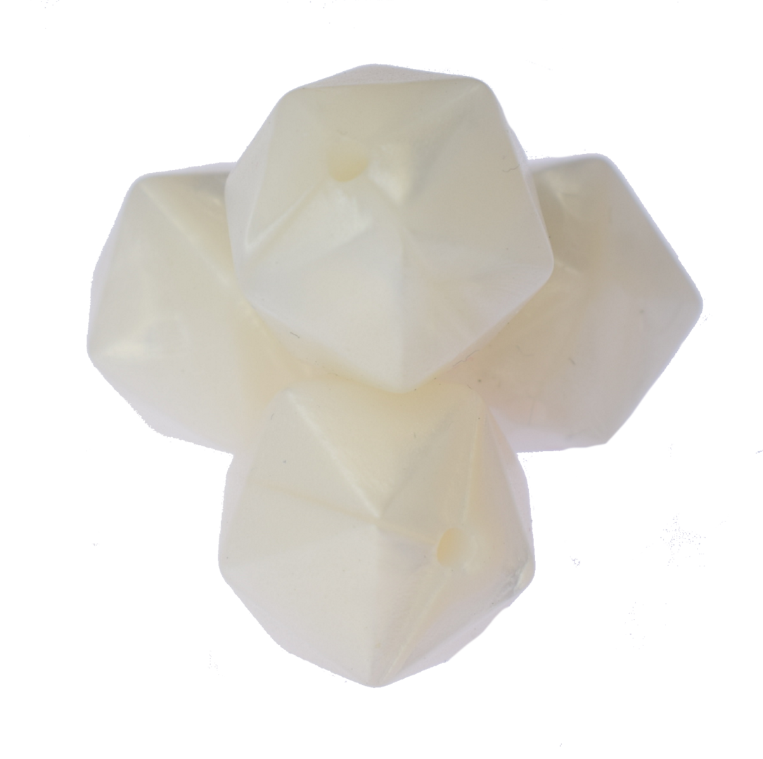 Icosahedron 17mm Pearl White