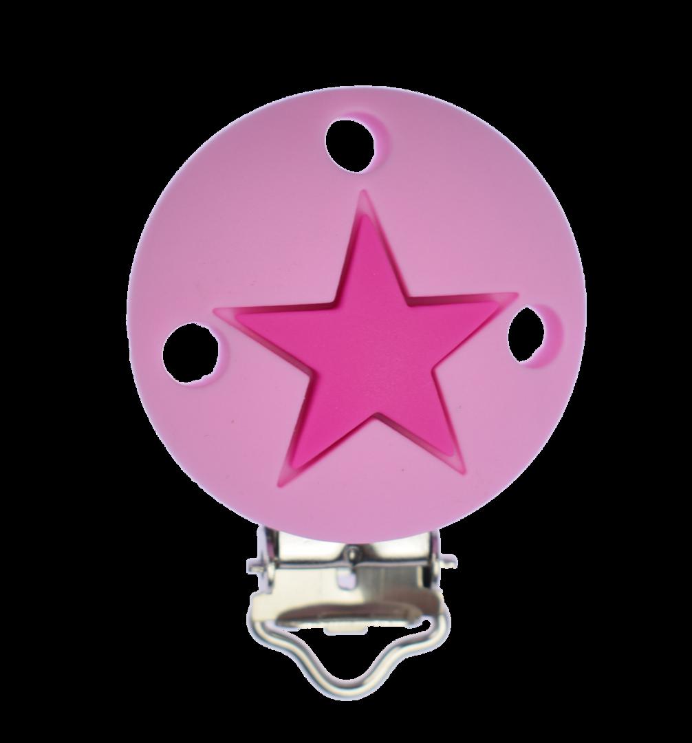 Clip Rund Stern - Pale Pink - Violet Red