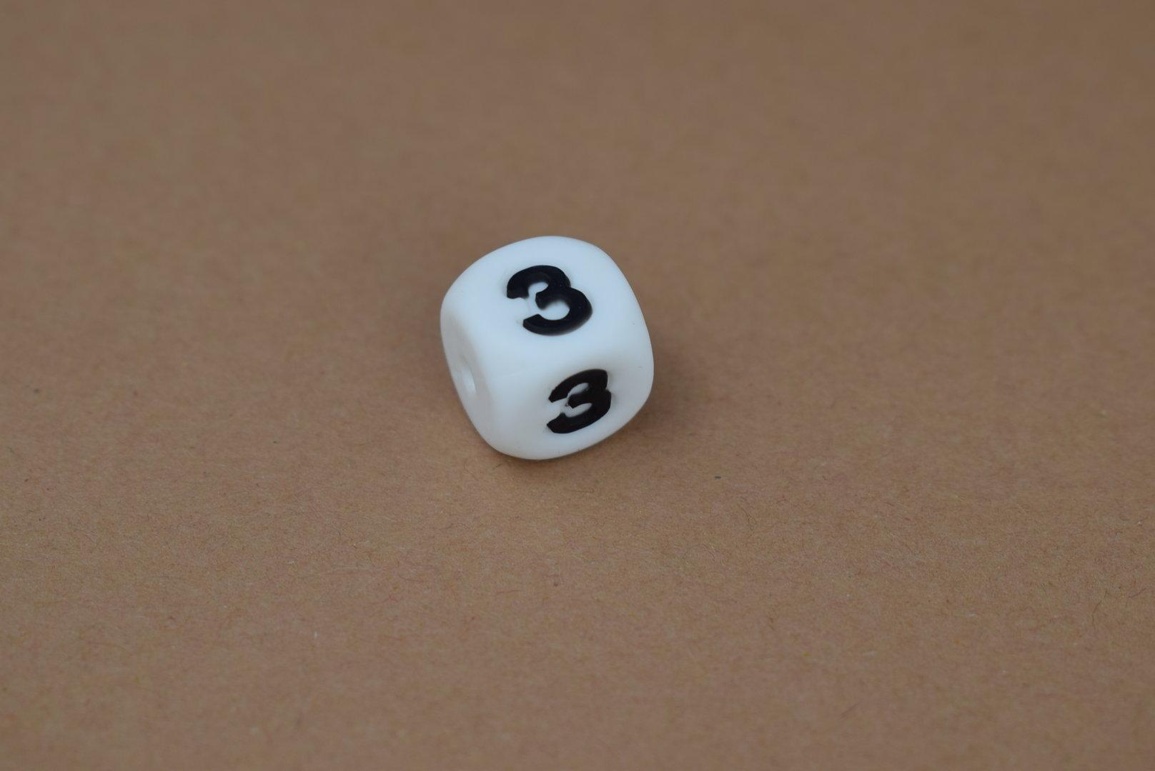 Silikon Zahlenperle - 12mm 3