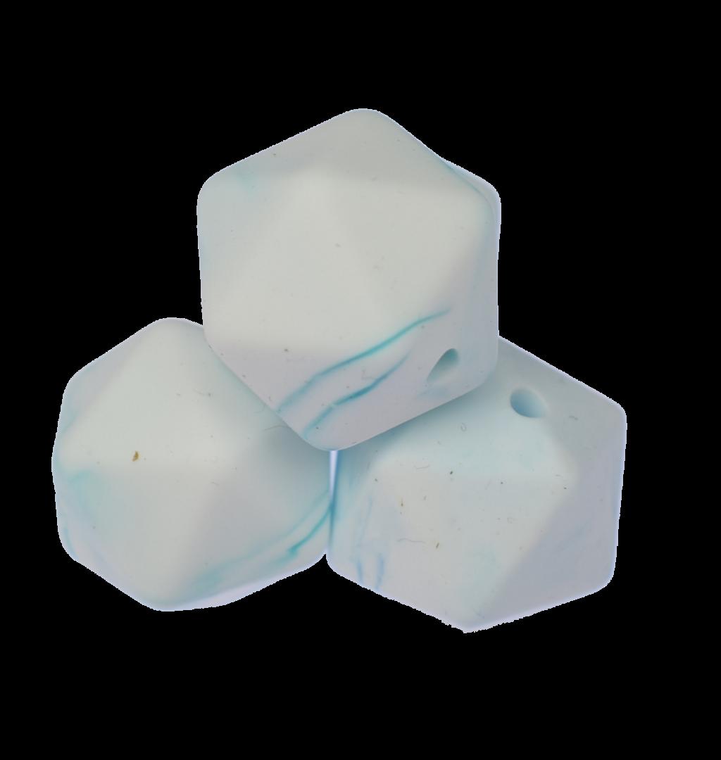 Icosahedron 17mm Marble Blue