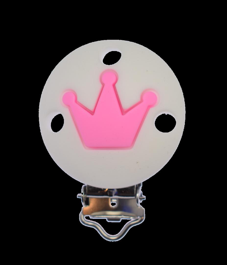 Clip Rund Krone - Weiss - Pink