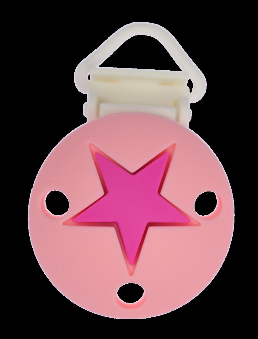 Clip Rund Stern Kunststoffverschluss - Candy Pink - Violet Red