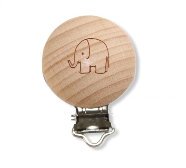 Holz Clip rund Elefant