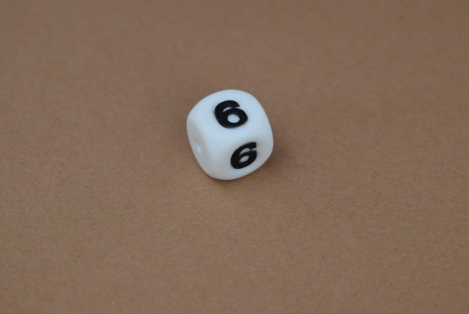 Silikon Zahlenperle - 12mm 6