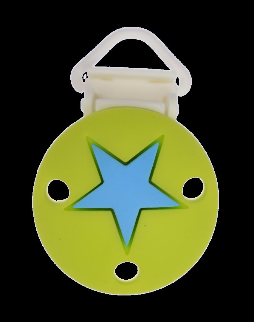 Clip Rund Stern Kunststoffverschluss - Apfelgrün-Deep Sky Blue