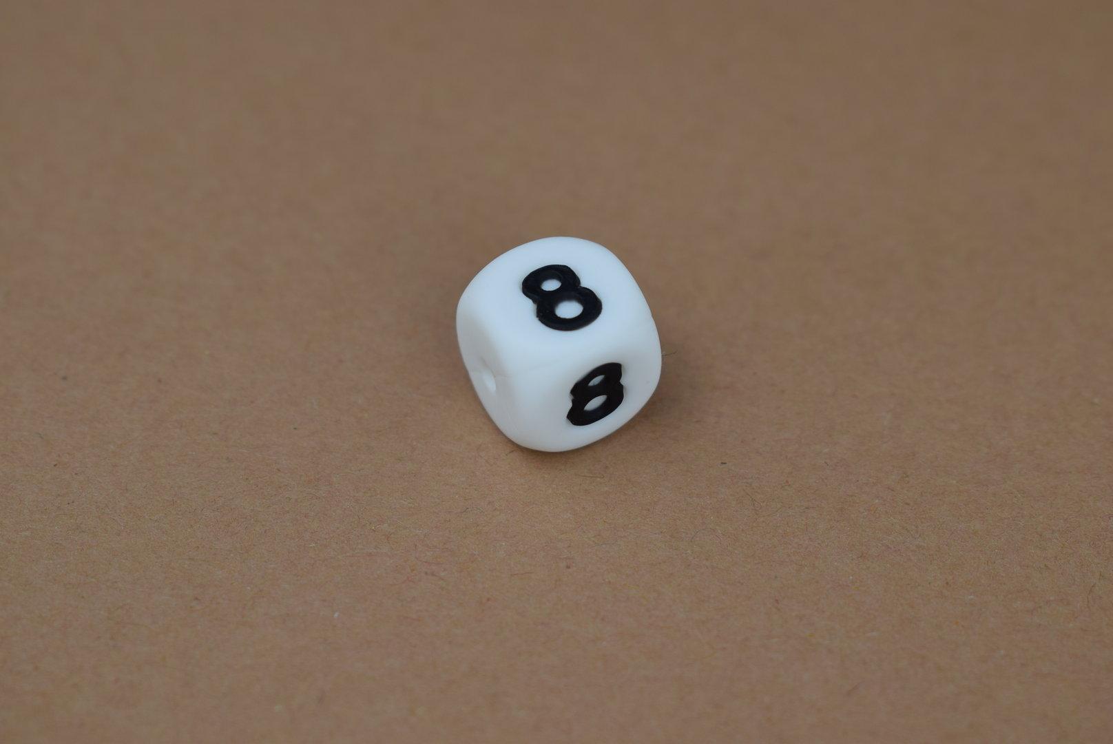Silikon Zahlenperle - 12mm 8